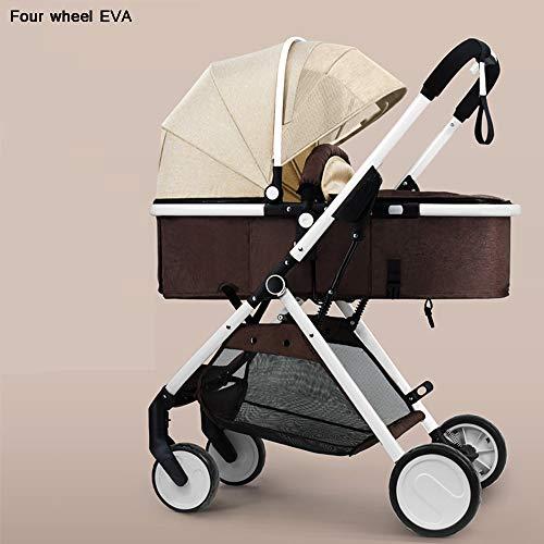 DEAR-JY Kinderwagen, stoßdämpfer leichte klappkinderwagen,Hochland-Multifunktion kann sitzen und liegen Vierrädriger Zweiwegewagen für Neugeborene(Allrad Eva),Khaki