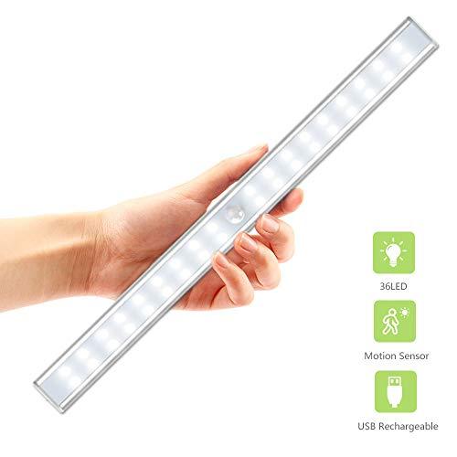 OxyLED t02us 36 led sensing usb aufladbare unter kabinett lightening, stickon cordless motion sensor garderobe bar 36 leds - 14.3inch weiß - Mount-unter-kabinett Lichter