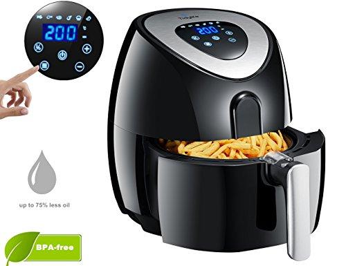 Freidora sin aceite digital, freír con Aire caliente, Air Fryer 3.2 L, 1500W, Freidora eléctrica pantalla táctil, Freidora pequeña antiadherente sartén con Libro de cocina, Negro