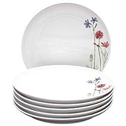 Kahla 39F190A50001C Wildblume Porzellan Tellerset für 6 Personen Kuchenteller 6-teilig Dessertteller 22 cm rund blau Blumendekor kleine Snackteller