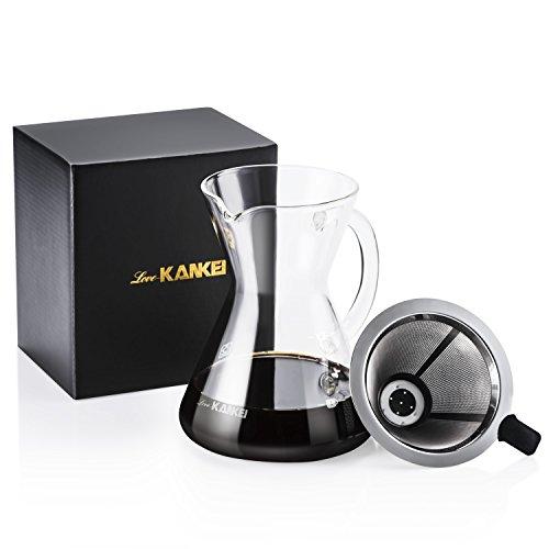 "Love-KANKEI® Manuell Kaffeebereiter Kaffeekanne ""Pour Over"" Karaffe mit Dauerfilter aus Edelstahl Dripper zum Aufbrühen des Kaffees, 500ml"