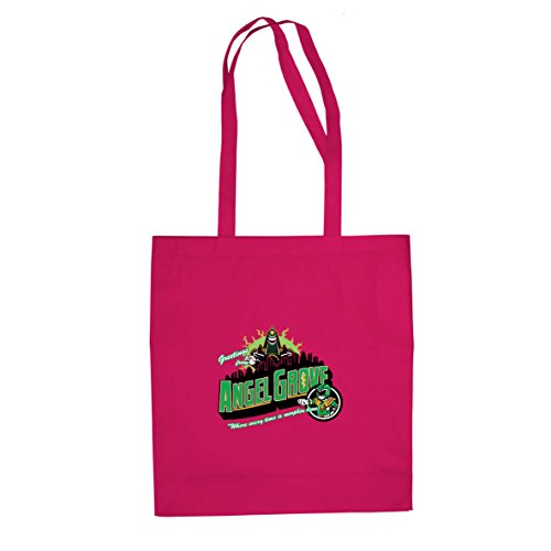 Planet Nerd Greetings from Angel Grove Green - Stofftasche/Beutel, Farbe: pink