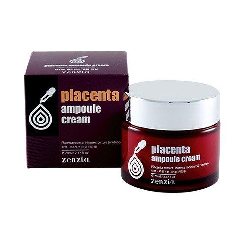Zenzia - Placenta Ampoule Cream - Aging / Anti Falten Creme mit Plazenta zur Regeneration und Reparatur der Haut - Frauen und Männer - trockene, normale, fettige Haut / Mischhaut - Gesichtspflege