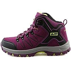 TQGOLD Zapatillas de Senderismo Impermeables Aire Libre Botas de Senderismo Zapatos de montaña para Hombre y Mujer (40 EU,Púrpura)
