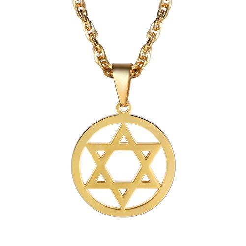 PROSTEEL Anhänger Halskette, vergoldet Edelstahl Jüdischen Davidstern Anhänger Edelstahl Hexagramm Symbol des Judentums, mit 55cm Kette gold