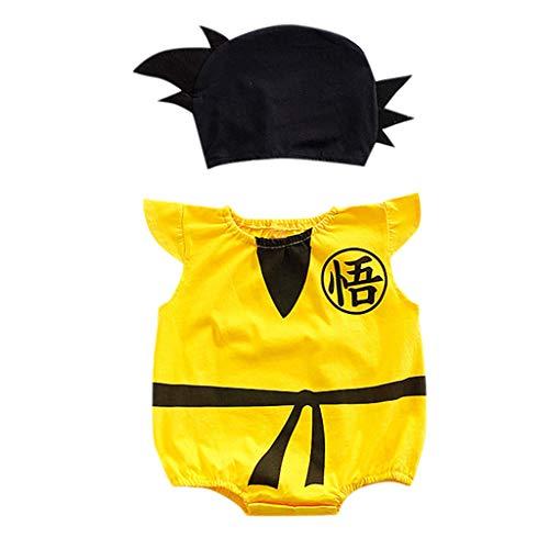 y Kid Kurzärmelig Cartoon Printed Strampler Hüte Kostüm Body Outfits Set Nette Und Bequeme Freizeitkleidung ()