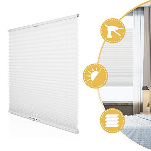 Deswell Plissee Rollo Jalousie ohne Bohren Klemmfix für Fenster & Tür Weiß 105 x 130 cm, Plisseerollo Stoff Sonnenschutz leicht zu montieren & Verspannt
