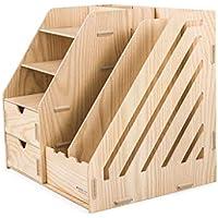 Iash File Holder DIY Manual de Archivo Barra de Madera Multiusos Caja de Almacenamiento de Escritorio con el cajón de Control Remoto/Suministros de Oficina/Rack de Almacenamiento cosmético
