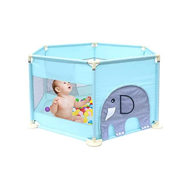 Baby Playpen Activity Centre Children Safety Fence Play Yard Game Playpen Fence for Home Indoor Outdoor Playing Per Material: ABS corner PVC connector Oxford cloth Mesh Size: height 65cm/25.59inch, length 142cm/55.9inch Age: 5 months to 3 years old 7
