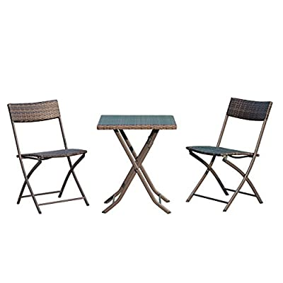 Outsunny Rattan Garden Furniture Bistro Set Outdoor Patio Coffee Set 2 Wicker Weave Folding Chairs and 1 Square Table