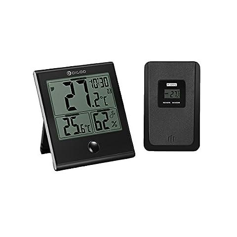 Thermomètre numérique intérieur/extérieur, DIGOO l'hygromètre , Température humidité, Fonction d'alarme de l'horloge, Verre Panneau Grand écran LCD, Imperméable à l'eau et anti-rayures