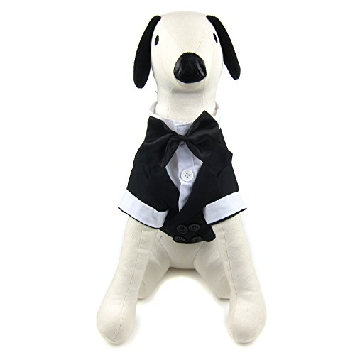 Alfie Pet by Petoga Couture Fellpflege-William Formale Smoking mit Schwarz Bow Tie Schleife, Medium, Schwarz -