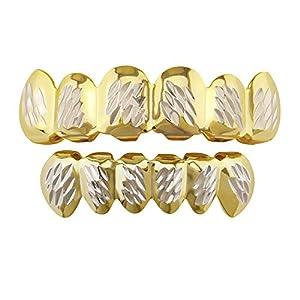 Asdflina Unisex Gold plattiert Hip Hop Zähne Grill Set Oben und unten Zähne Caps Grills für Holleween Geschenk One Size Fits All Zahnersatz aus Edelstahl