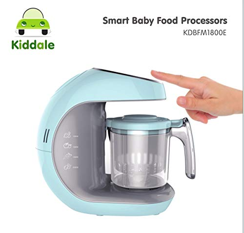 Kiddale Baby Food Processor - Steamer, Blender, Grinder, 5 in 1 Smart Food Processor with intelligent smart touch panel, anti-dry protection, disinfect and auto-shut off feature-Blue