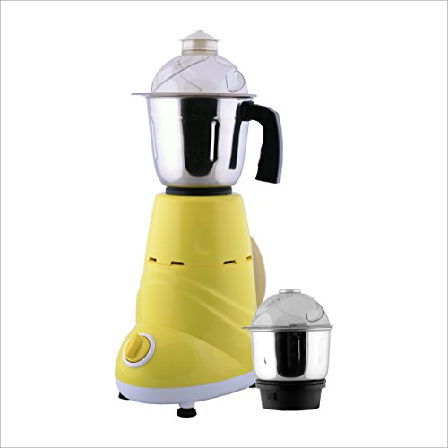 ANJALIMIX Mixer Grinder ZOBO 600 WATTS With 2 Jars (Yellow & White), DRY, WET, CHUTNEY  available at amazon for Rs.1699