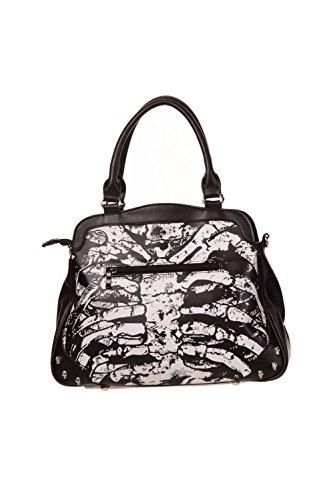 Handtasche Schwarz Design Skelett Brustkorb Banned (Halloween Brustkorb)