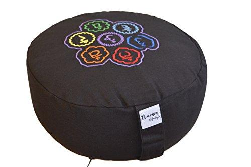 Tvamm-Lifestyle Rund 7 Chakra Meditationskissen (Zafu) Buchweizenschalen, Ø 36 cm x 15 cm, Bezug und Inlett 100% Baumwolle, Bezug und Inlett maschinenwaschbar bis 30º C.