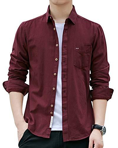 Uomo camicie maniche lunghe slim fit tinta unita tempo libero di grandi dimensioni camicia con tasca rosso xl