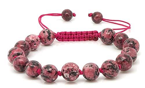 Imagen de jiveli pulsera de piedras preciosas de rodonita con cuentas de 8 mm, con nudos y macramé ajustable, para un equilibrio energético y ropa de moda