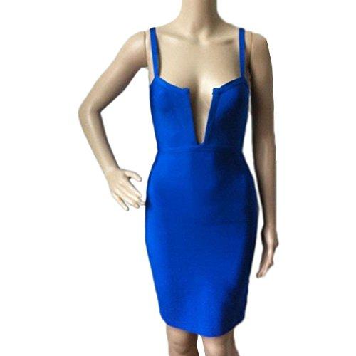 HLBandage Women's Sexy Deep V Neck Spaghetti Strap Rayon Bandage Dress Bleu