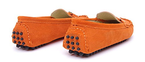 Minitoo Women's, rund, Fuß aus Metall, Balerinnas Driving Shoes Herren Slipper, Veloursleder Orange