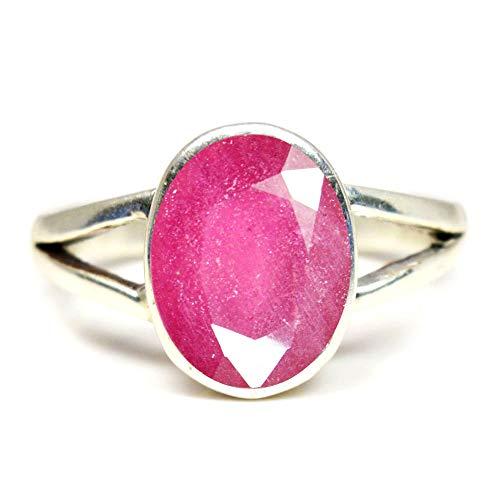 Gemsyogi Unisex Damen Herren - Sterling-Silber 925 Oval Pink Rubin