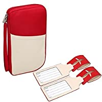 RoryTory Red RFID Travel Passport Holder Case Organizer with 2 Luggage Tags
