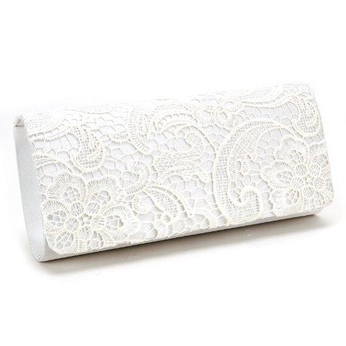 Luxus Spitze Damen Clutch Abendtasche Damentasche Handtasche Brauttasche mit Kette (weiss/schwarz/blau)