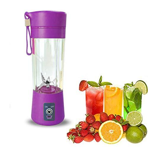 Jwr frullatore portatile smoothie maker - 6 lame e usb ricaricabili - mini estrattore di frutta elettrico personale mini blender per viaggi-380ml,purple