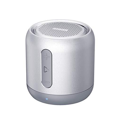 Anker SoundCore Mini Super Mobiler Bluetooth Lautsprecher Speaker mit 15 Stunden Spielzeit, 20 Meter Bluetooth Reichweite und Starkem Bass (Silber)