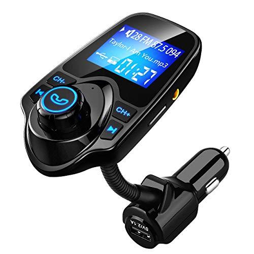 VICTSING Transmetteur FM Bluetooth Kit de Voiture Mains Libres Sans Fil Chargeur USB de Voiture avec 3.5mm Port Audio, Fente pour carte TF, Écran de 1.44 Pouces