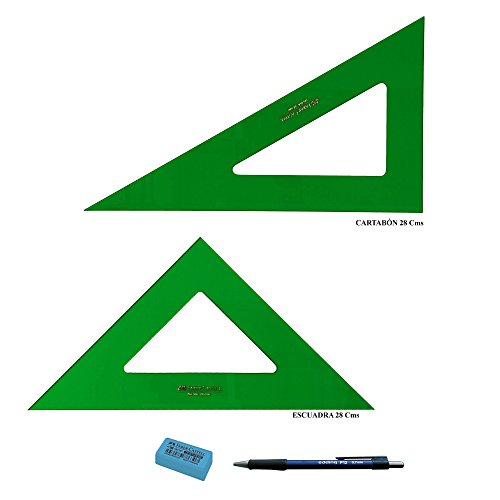 PACK LOTE Faber Castell Técnico - Escuadra 566-28 Cms + Cartabón 666-28 Cms +...