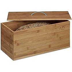 """Relaxdays-Caja de bambú pan, """"Bread"""" Impresión, 23x 36x 21cm, pan de almacenamiento contenedor, papelera de madera, Natural"""