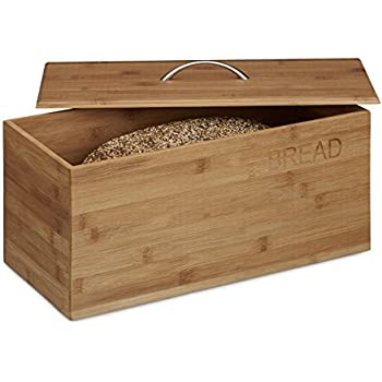 relaxdays bamboo bread box bread print 23 x 36 x 21 cm bread storage container wooden bin. Black Bedroom Furniture Sets. Home Design Ideas