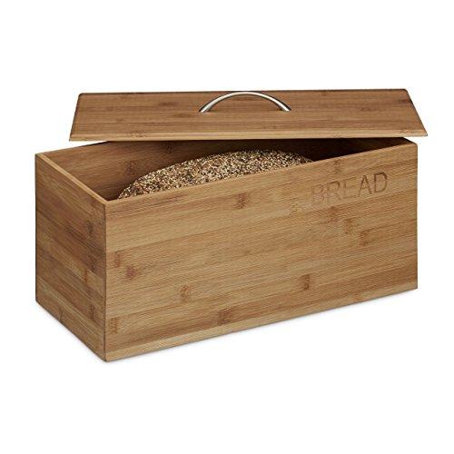 Relaxdays Brotkasten Bambus, Aufdruck BREAD, HxBxT: 20 x 42 x 21,5 cm, Brotbehälter für Brot Brötchen und Kuchen, Holz, Brotaufbewahrung, natur
