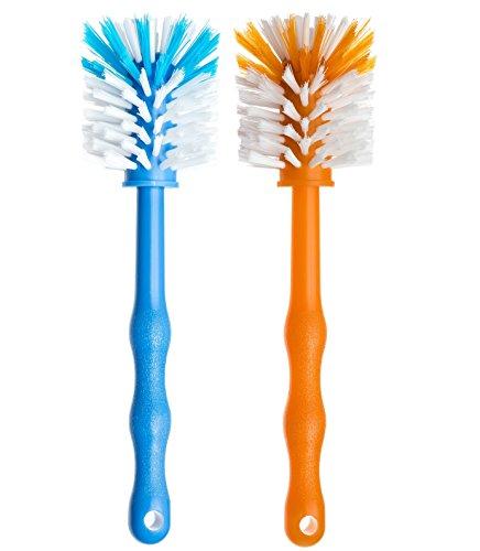 Deine Bürste 2er Set Mixtopf Spülbürste - Reinigungsbürste perfekt zum Reinigen von z.B. Thermomix ® TM5, TM31, TM 21 - Zubehör je (1x Blau/ 1x Orange)