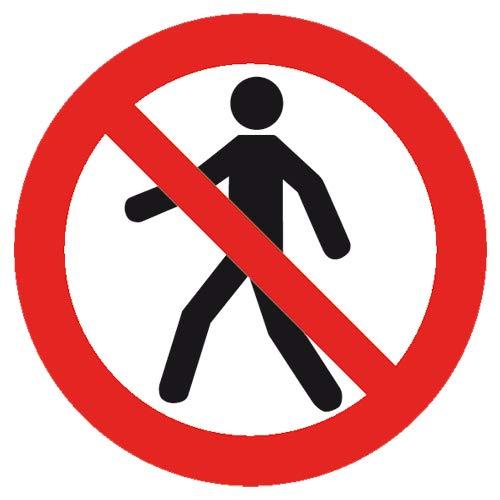 Señal de prohibición Intratec para peatones Prohibido/no Paso señal de prohibición de 200 mm de Equipamiento de Funcionamiento de PVC no Autoadhesivo