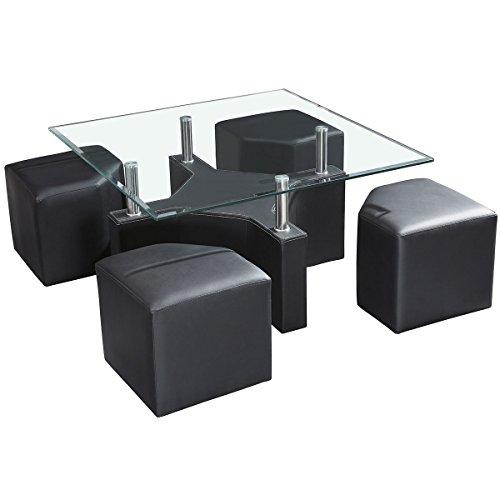 Table basse avec plateau en verre trempé et 4 poufs en PVC noir