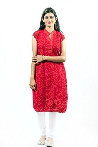 Anjani-Ethnic-half-sleeve-Hand-Embroidered-Lucknow-Chikan-work-Cotton-Kurta-kurti-for-women