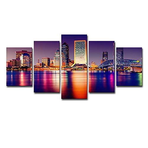 kssim Florida Stadt Nachtszene Leinwand Wandkunst Abstrakter Druck Hauptdekoration Wohnzimmer Moderne Bild 5 Panel Großes Plakat Hd Druckrahmen Bereit Zu Hängen@2_Lxx -