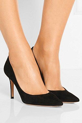 EDEFS Damen High Heels Klassische Pumps Geschlossene Spitze Zehen Übergröße Schuhe 8cm Absatz SuedeBlc