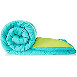 Solimo Microfibre Reversible Comforter, Double (Aqua Blue & Olive Green, 200 GSM)