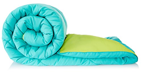 Solimo Microfibre Reversible Comforter, Single (Aqua Blue & Olive Green, 200 GSM)