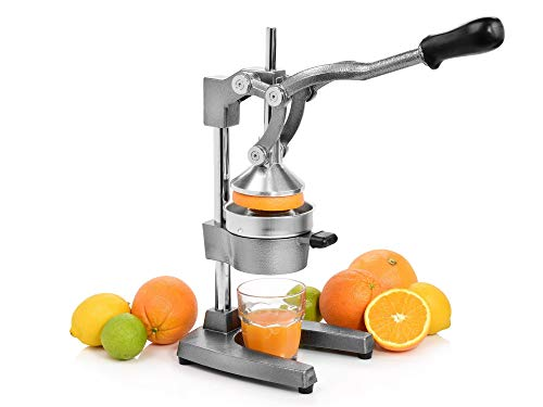 Sänger Profi Saftpresse aus Gusseisen und Edelstahl | Premium Orangenpresse mit über 6 Kg Gesamtgewicht | Bis zu 20{462cf8a278416a7abe57af6dd4bd27e3fd7567507b3b726d0f2225fb3f604659} mehr Saftausbeute | Hebelpresse für z.B Orangen und Granatapfelsaft