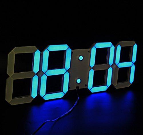 LambTown Große Display LED Digital Wanduhr mit Fernbedienung, 15cm / 6-Zoll Tall Digits Countdown Count Up Stoppuhr Wall Timer mit Temperaturkalender für Haus, Fitnessraum, Büro, Kirche - Blau (Reden Sie Datum Und Zeit, Uhr)