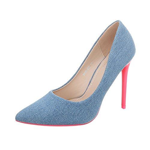 Ital-design Chaussures Pour Femmes Chaussures À Talons Aiguilles Chaussures À Talons Hauts Bleu Rose 5015-86b