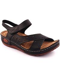 Unze New Women 'Walker' Velcro Sandales de fixation Summer Beach Travel School School Carnival Casual Chaussons Chaussures Royaume-Uni Taille 3-8