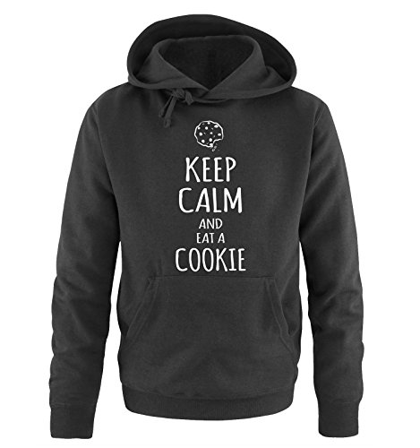 Comedy Shirts - KEEP CALM and eat a COOKIE - Uomo Hoodie cappuccio sweater - taglia S-XXL different colors nero / bianco