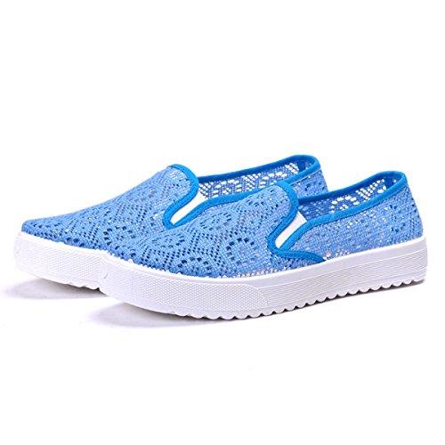 Confortable Respirant Loisirs Transpercé Chaussures Peu Profondes De La Bouche blue