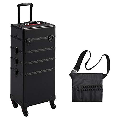 Yaheetech Kosmetikkoffer Alu Beauty Case Kosmetik Trolley Rollkoffer 4 in 1 Schminkkoffer mit Make-up Pinsel Tasche